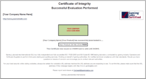 Certificate of Integrity